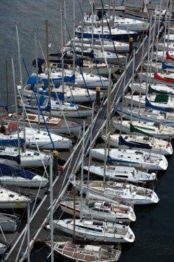 boats at Doca de Belem Harbour in Lisbon