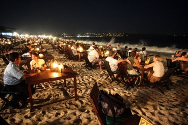 seafood restaurants at beach of Jimbaran on Bali