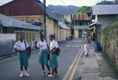 schoolgirls standing on road