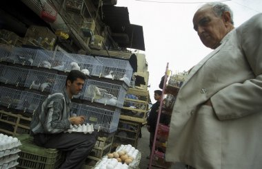 customer looking at eggs at market of Damascus