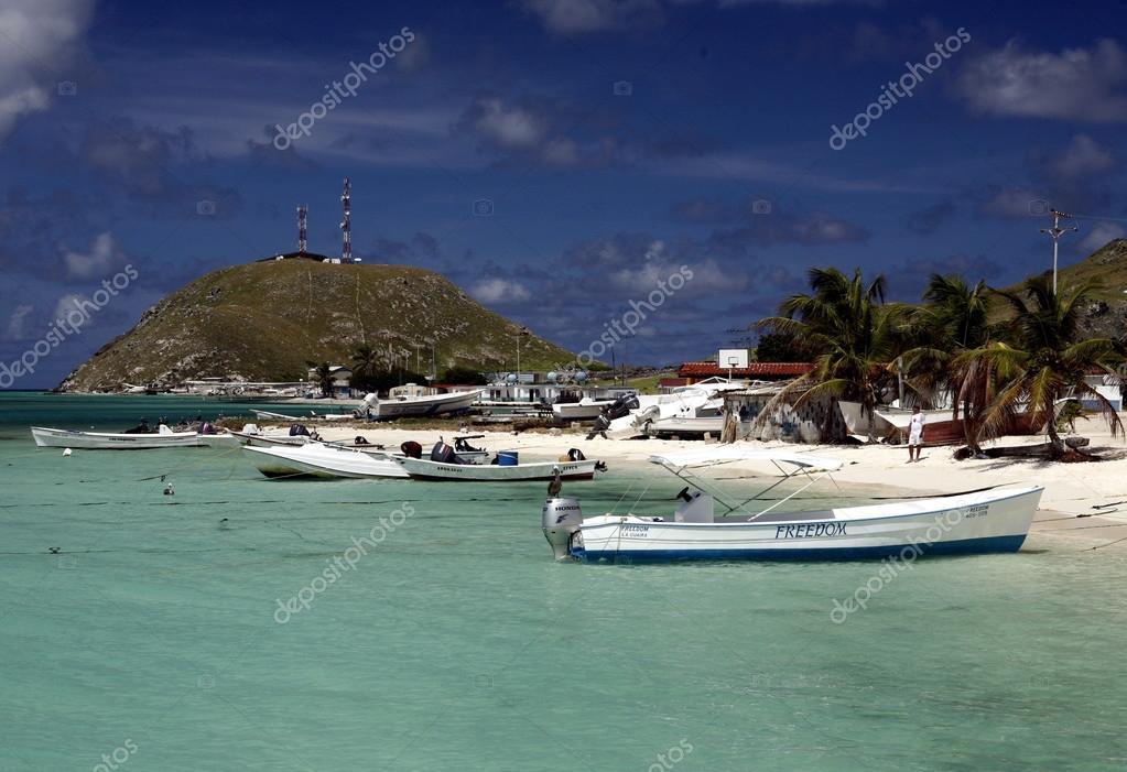Dorf Auf Der Insel Gran Roque In Venezuela Redaktionelles