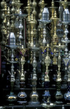 assortment of hookahs at market in Cairo