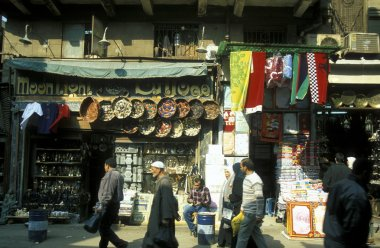 customers at souq of old town of Cairo