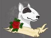 Pitbull s tetování stylizovaný stuhu a růže