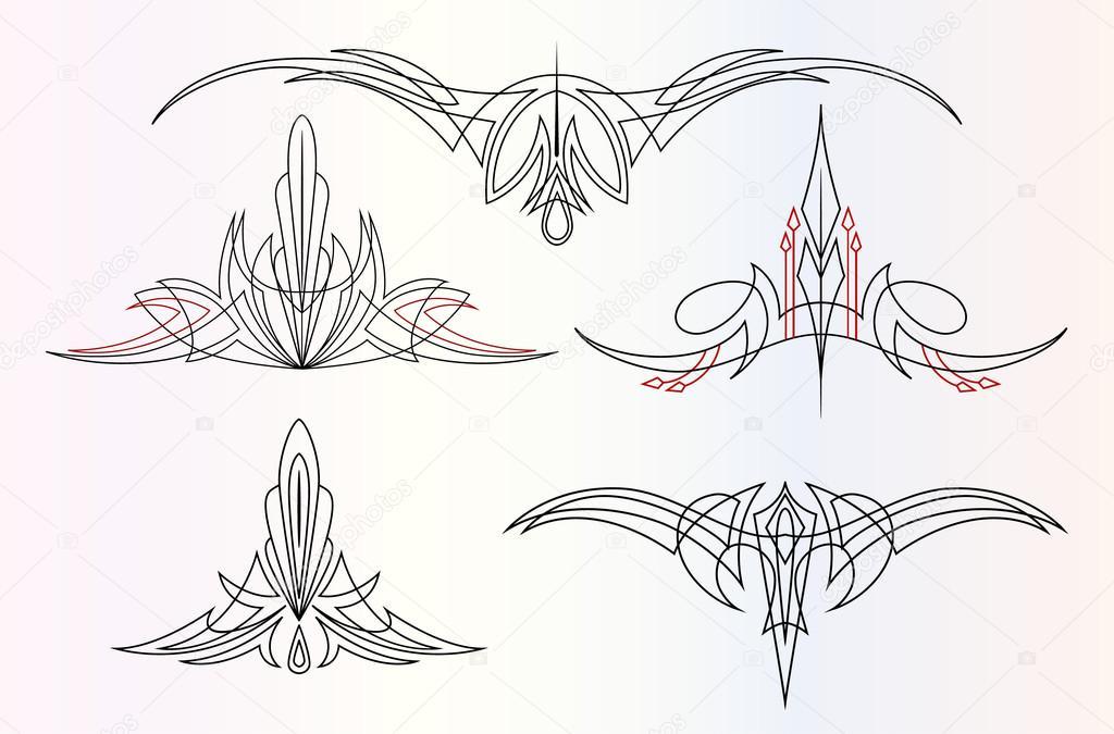 conjunto de adornos de pinstriping — Vector de stock ...