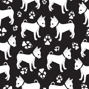 Russian Toy Terrier seamless pattern