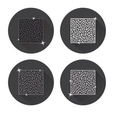 Maze. Icons. Vector.