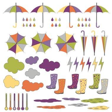 Rubber boots, umbrellas, rain. Vector set.