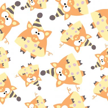 Pigs in retro style, seamless pattern.