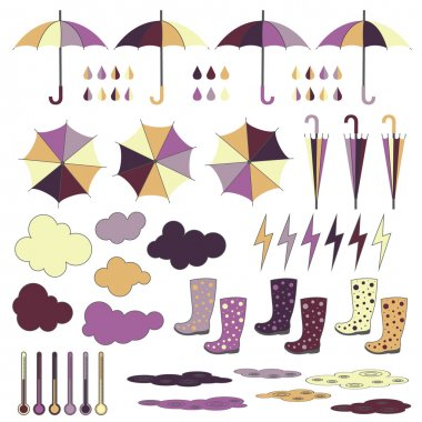 Rubber boots, umbrellas, rain. Vector set.
