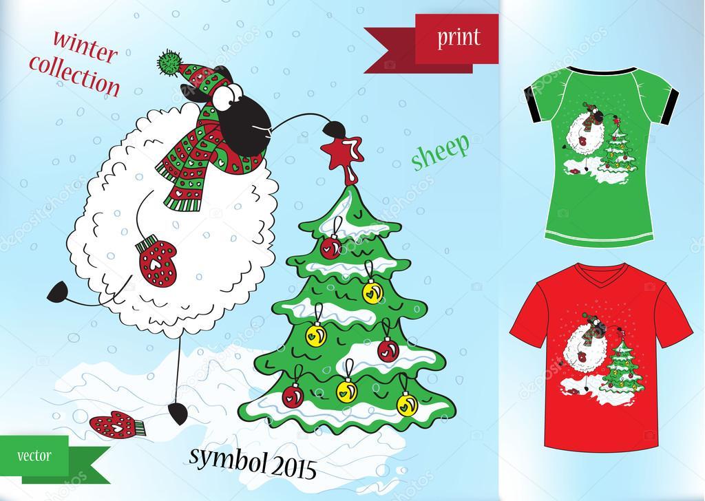 Sheep in winter hat Graphic T- shirt design print