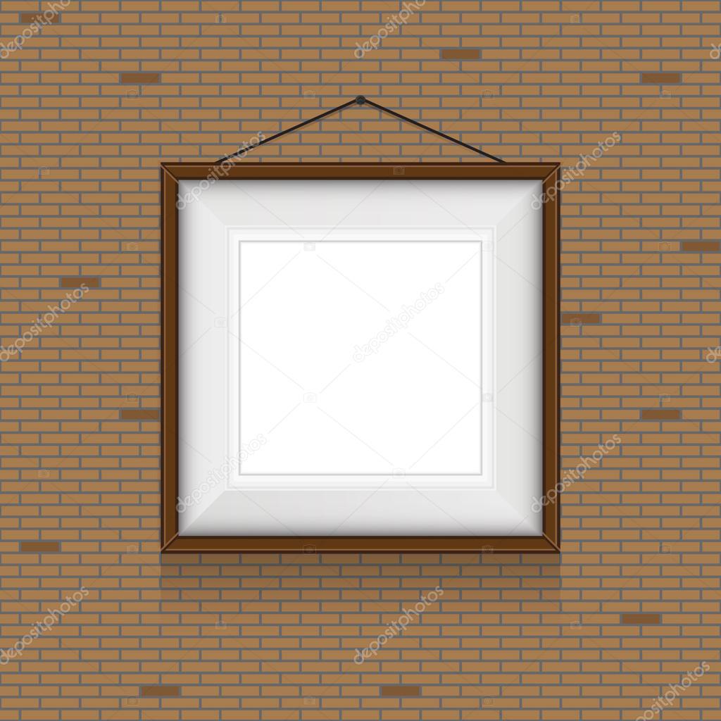 marco para cuadros en las paredes de ladrillo — Archivo Imágenes ...