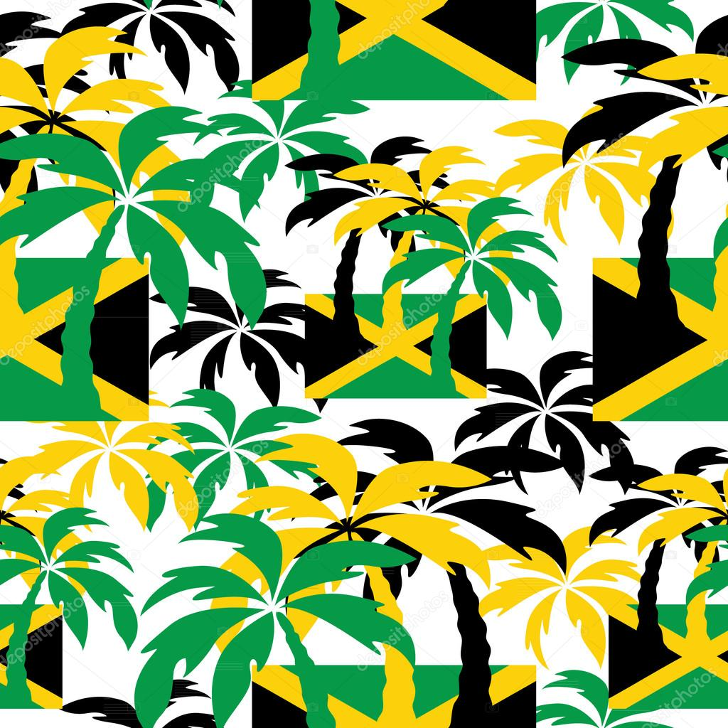 Palm trees in Jamaica colors. Seamless background. — Stock Vector ...