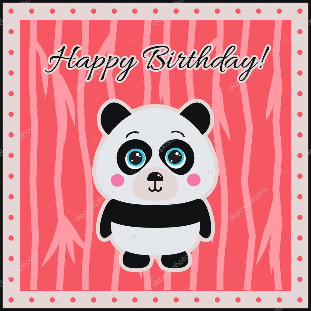 Happy birthday panda on a coral background stock vector lyusjen happy birthday panda on a coral background stock vector bookmarktalkfo Choice Image