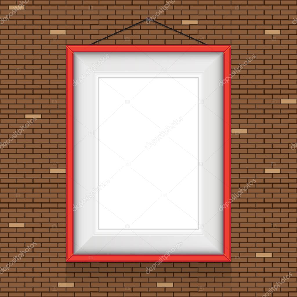 marco para cuadros en las paredes de ladrillo — Vector de stock ...