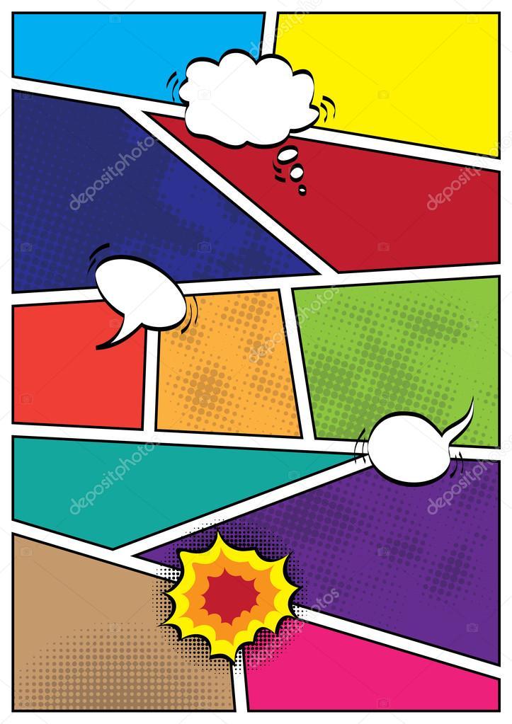 Comics pop art style blank