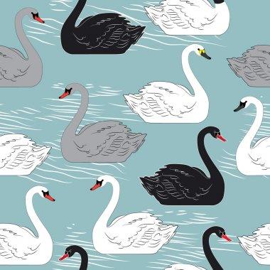 Swans. Seamless  pattern.