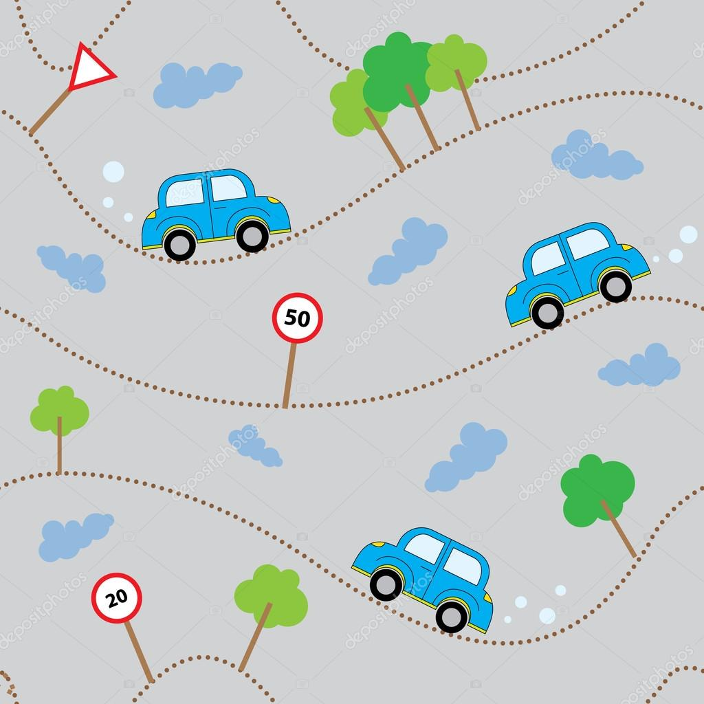 dibujos animados de coches de patrones sin fisuras. plantilla de ...