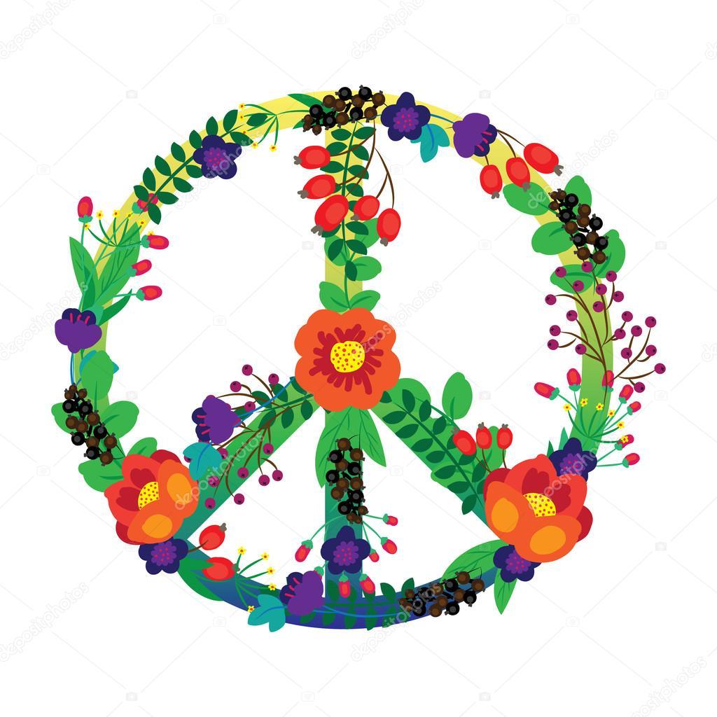 Fiori Hippie.The Emblem Of The Hippie Flowers Stock Vector C Lyusjen 52922025
