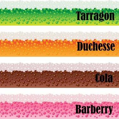 Borders of carbonated beverages.