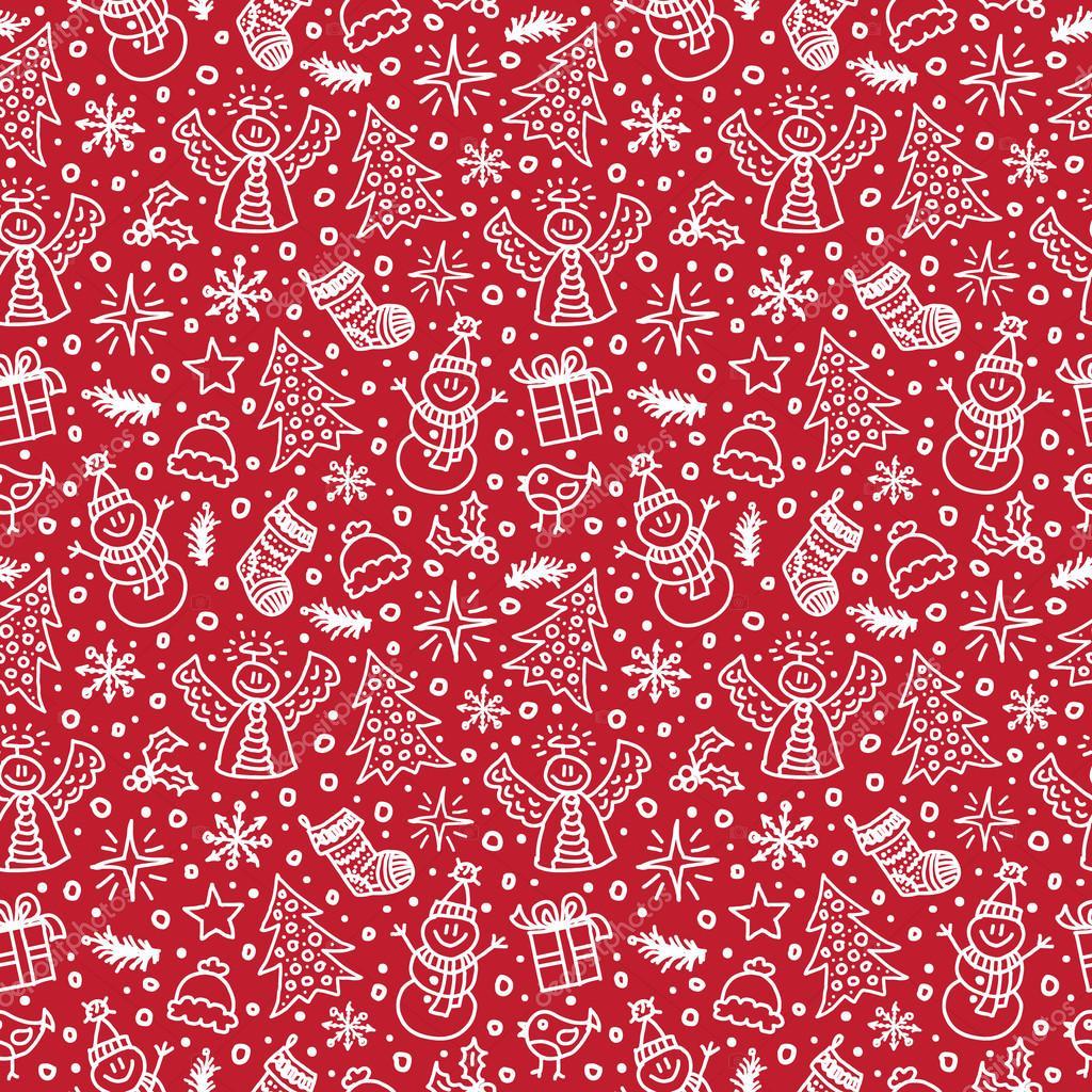 рождество красный бесшовный образец. векторная иллюстрация