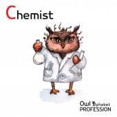 Fotografia carattere chimico di alfabeto professioni gufo su un acquerello di vettore sfondo bianco