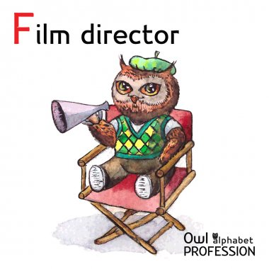 Alphabet professions Owl Letter F - Film Director character on a white background Vector Watercolor.