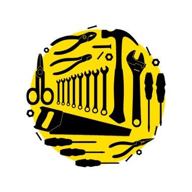 Circular pattern of the instruments. Vector illustration stock vector