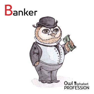 Alphabet professions Owl Letter B - Banker Vector Watercolor.