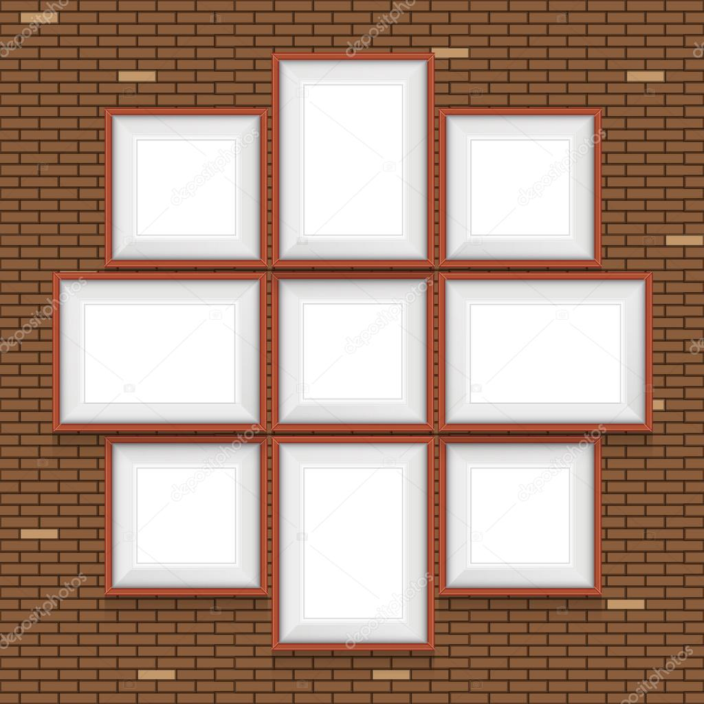 Collage de marcos en la pared de ladrillo. Conjunto de vectores ...