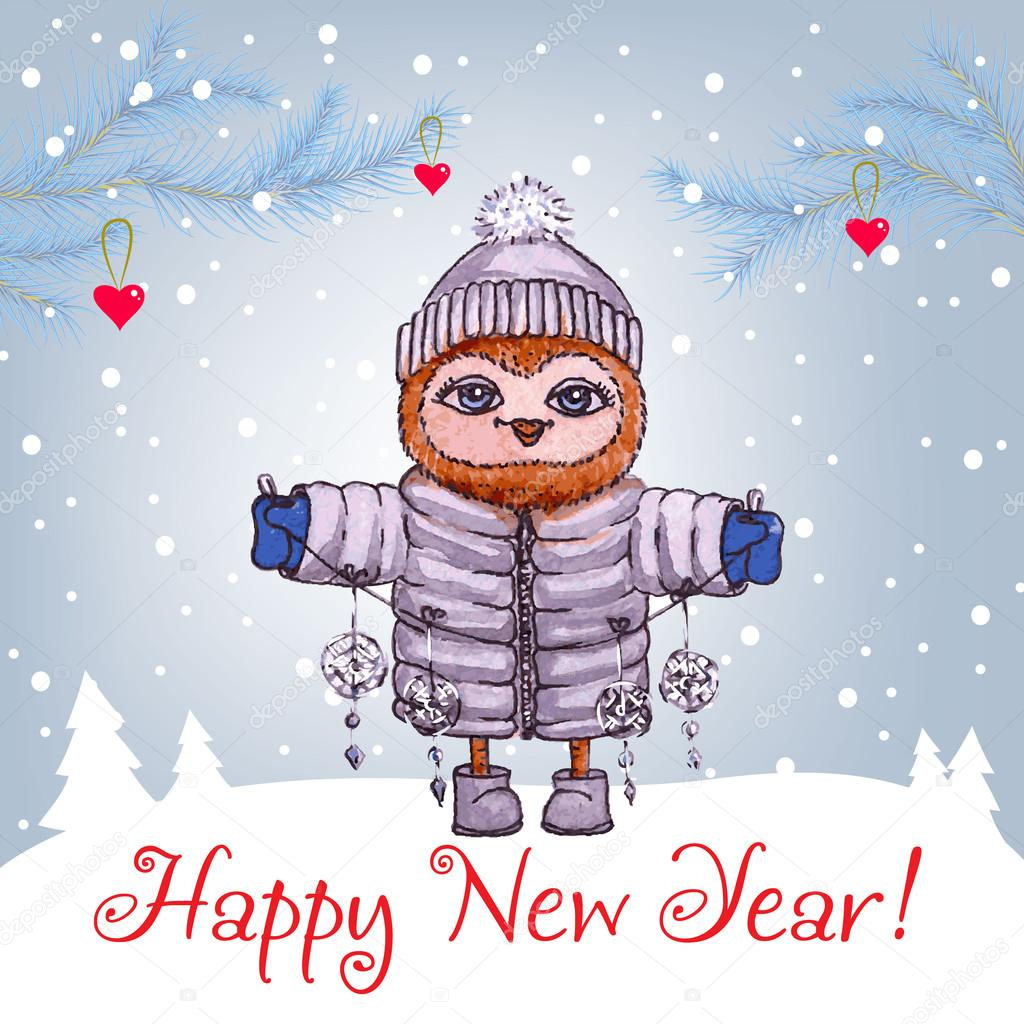 Happy new year greeting card with cute owl in winter hat vector happy new year greeting card with cute owl in winter hat vector watercolor stock kristyandbryce Gallery