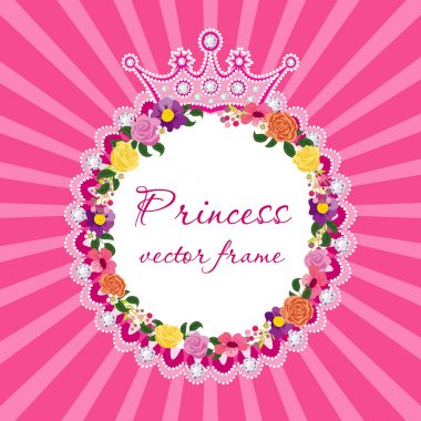 Flower frame with crown for little princess Vector.