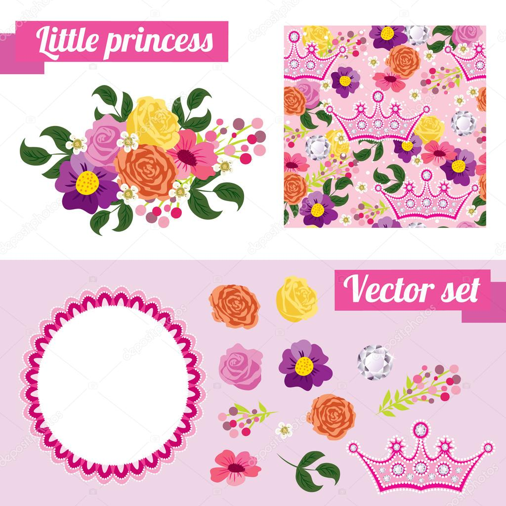 Set of pink floral elements with crown. Collect frame for a princess.