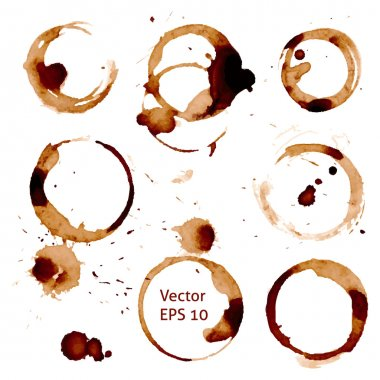 Vector cup of coffee stains on white background.