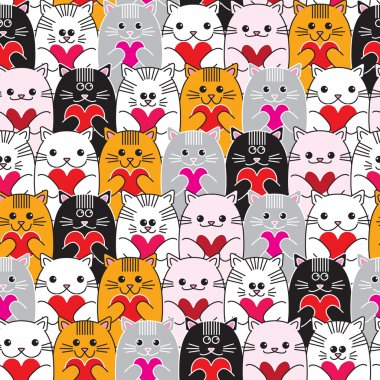 Cats with hearts in hands, seamless vector pattern. clip art vector