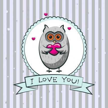 Valentines day greeting card with owls. Vector