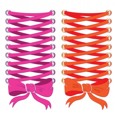Corset lacing, pink and orange. Print on clothes.