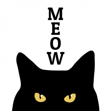 Black cat and meow inscription.