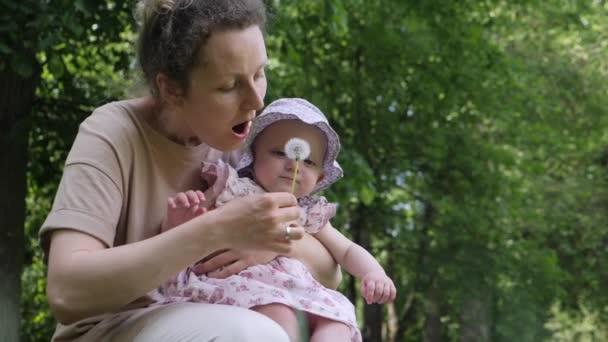 Mutter und kleine Tochter spielen im Freien mit Löwenzahn. Kind lacht in den Händen von Mama. Zeitlupe