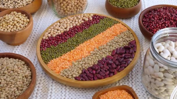Mung Beans, Lentils, Red Beans, White Beans, Soybeans, Chickpea In Wooden Bowls.