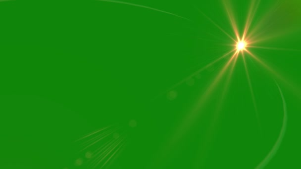 Lens flare Animation on Green Screen. Light Effect.