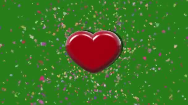 Animace 3d srdce puls s barevnými klapka na zelené obrazovce