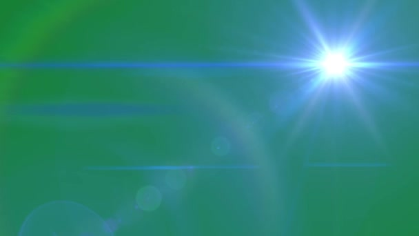 Blue Lens flare Animation on Green Screen. Light Effect.