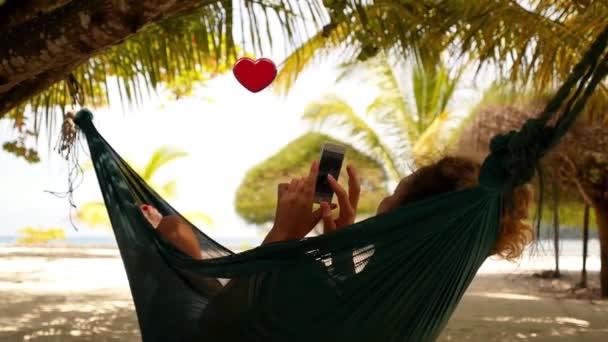 Woman with Smartphone Collect Likes Relaxing in a Hammock. Flying animation 3D heart symbols. Social Media Concept.
