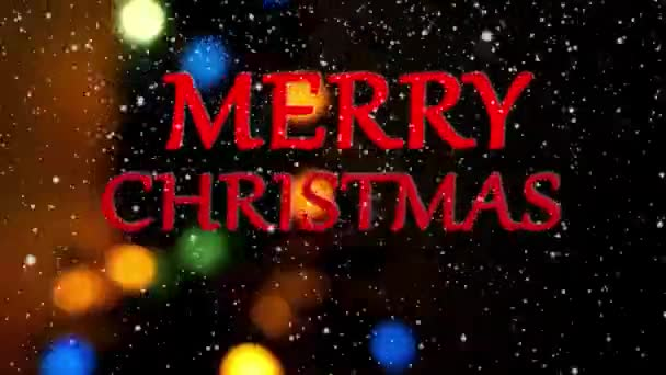 Merry Christmas greeting animation with lights on background
