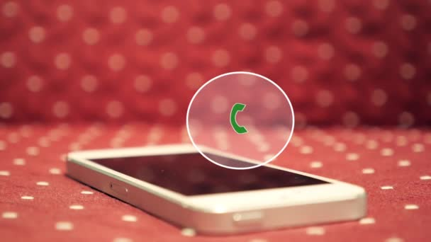 White Smart Phone Calling with Animation Button Icon.
