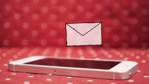 Jedna nová zpráva Smatr telefonu. Ikona nepřečtené zprávy animace.