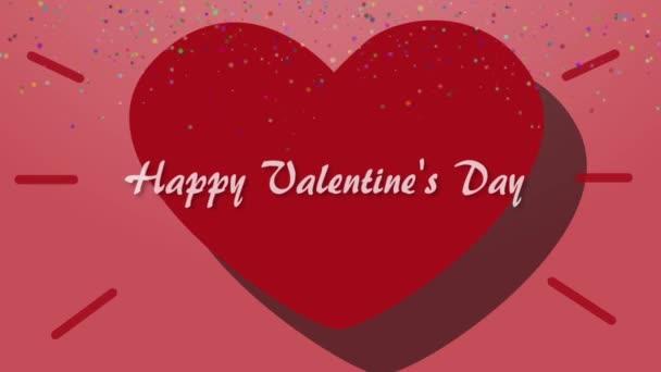 Šťastný Valentýn animace s pulzující srdce na pozadí