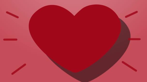 Animace byly srdce puls na růžovém pozadí