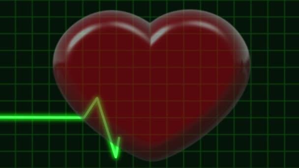 Koncepce zdravých. Pulzující 3d Symbol srdce na kardiogram